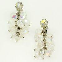 Vintage AB Aurora Borealis Beaded Glass Crystal Drop Clip-On EARRINGS