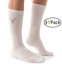 3 Pairs -V-Toe Athletic Tabi Flip Flop Socks - White Solid