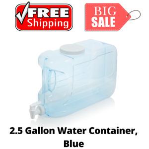 2.5-Gal Slimline Beverage Dispenser Blue BPA-free Slim Sleek Sturdy Container