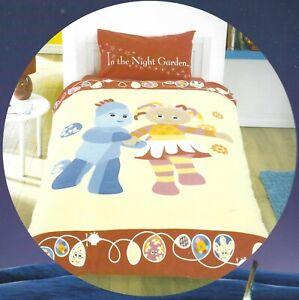 IN THE NIGHT GARDEN REVERSIBLE SINGLE DUVET SET LEMON RED BLUE PINK