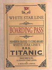 Titanic Boarding Pass - Replica - Near Mint Condition. FREE SHIPPING