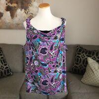 GEORGE womens 3X plus size purple black print sleeveless shirt tank top blouse