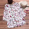 Plus Size Womens Summer Casual Short Sleeve Baggy Floral T Shirt Loose Top Tee