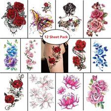 12pc Temporary Tattoo Feminine Sticker Waterproof Body Art Rose Floral Butterfly