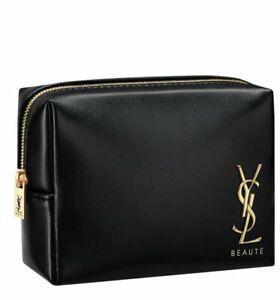 Yves Saint Laurent YSL Beaute Black gold Makeup cosmetic Bag Pouch case clutch