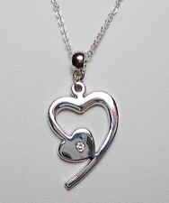 "30mm silver heart pendant with crystal, 17.75"" chain"