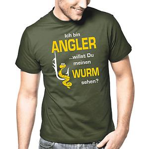 Ich bin Angler willst Du meinen Wurm sehen? Sprüche Angler Lustig Spaß T-Shirt