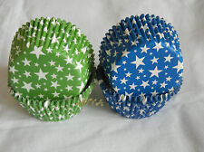100 blue green  star Cupcake liners baking paper cup muffin case 50x33mm