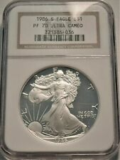 1986 S $1 NGC PF 70 Ultra CAMEO American PROOF Silver Eagle 1 oz First Year Coin
