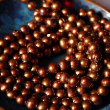 "10 Perles NACRE VÉRITABLE - PERLES DE CULTURE - ""MARRON CHOCOLAT"" - Ø  6/7 MM"