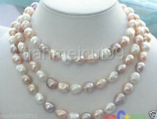 "NEW long 60 ""10-12mm baroque multicolor freshwater pearl necklace"