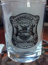 "Vintage Ferndale MI Police Department Logo Original 4"" Glass Michigan"