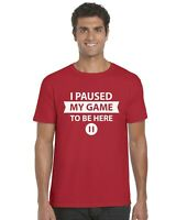 I Paused My Game To Be Here (Pause Button) Funny Gaming Kids T-Shirt Age 3-13