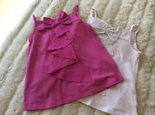 Verbaudet Girls Age 8 2X Sleeveless Strappy Jersey Cotton Tops With Frill