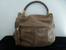 Elaine Turner Taupe Leather Shoulder Bag