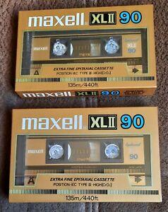 2 x MAXELL XL II TYPE II 90 MINUTE  BLANK CASSETTE TAPES
