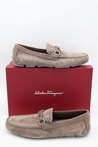 Salvatore Ferragamo Stuart Brown Suede Leather Gancini Braid Strap Loafers 11 44