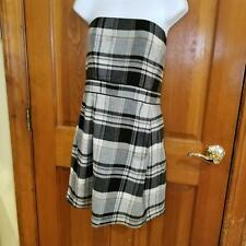 French Connection Strapless Cocktail Dress Size 12 Black Grey Plaid Bubble Skirt