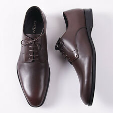 NIB $650 CANALI 1934 Medium Brown Plain-Toe Leather Derby 8.5 Wide Dress Shoes