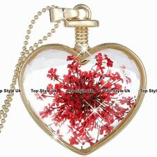 Red & Gold Heart Necklace Pendant Chain Fashion Jewelry Gifts for Her Women FR1