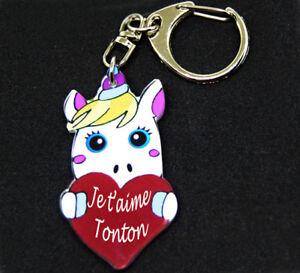 """Porte-clés licorne message """"Je t'aime Tonton"""" dans un coeur rouge"""