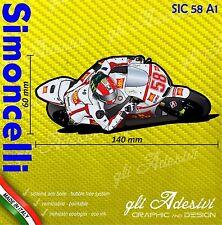 Adesivo Moto Sic Simoncelli 58 caricatura stickers carene casco 14 x 6 cm