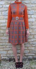 Mini vestido Vintage 60s 70s DL Barron Mod Retro patrón geométrico de lana naranja M