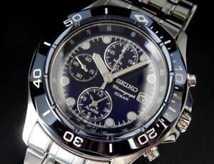 Working Seiko Chronograph Alarm Rotating Bezel Quartz Mens Blue Watch 7T62 uhr