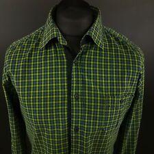 HUGO BOSS Mens Shirt LARGE Long Sleeve Green SLIM FIT Check Cotton