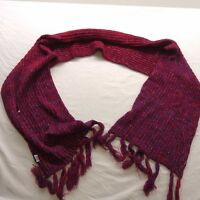New Maurcies Womens Crochet Knit Full Neck Scarf Purple & Red One Size Fits All
