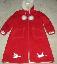 Stunning Vintage Hudson Bay Co 100% Wool Coat w/ Fur Trimmed Hood Womens 18