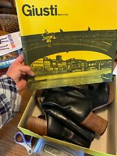 Giusti Italian Leather Boots Vintage Black Knee High Boots Size 6 M Hippy Boots