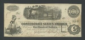 UNITED STATES  Confederate  $100 1862  Fr.CS-40  Banknotes