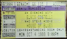 Elvis Costello Ticket Stub 1999 New Orleans House of Blues Steve Nieve