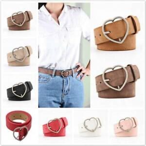 Women Faux Leather Single Heart Waist Belt Pin Metal Buckle Casual Waistband YG