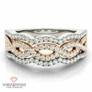 0.65 ct G-VS1 Diamond Double Criss Cross Ring Two-Tone 14K White and Rose Gold