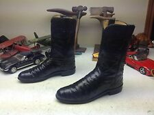 JUSTIN 3720 MADE IN USA VINTAGE BLACK OSTRICH LEATHER WESTERN COWBOY BOOTS 7.5 B