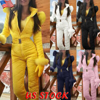 Womens Winter Padded Bubble Fleece Hooded Puffer Quilted Zip Up Jumpsuit Outwear