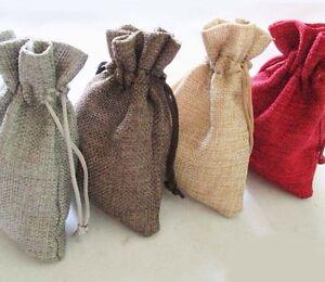 10 Beige Hessian Burlap Jute Rustic Pouches Favour Bags 9 x 13.5cm Bonbonniere