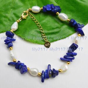 Natural Blue Lapis lazuli Gravel Gems & 7-8mm White Baroque Pearl Bracelet 7.5''