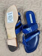 Manolo Blahnik Susa Strappy Blue Snakeskin Sandals Sz 36.5  Flat Slide 5.5 NEW