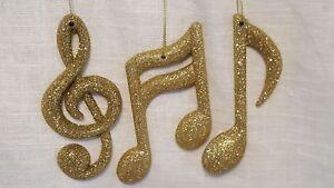 3 PC GOLD GLITTER MUSIC NOTE ORNAMENTS