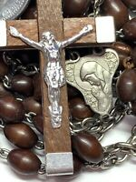 "† VINTAGE 7 DECADE XL FRANCISCAN WOOD ROSARY ST FRANCIS ANTHONY MEDAL 37 1/2"""" †"