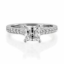 Classic Pave Princess Cut Diamond 1.10 Carat F/VS2 Engagement Ring