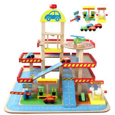 Kids Wooden Car Garage Petrol Gas Station Cars Wood Pretend Play Toy Set