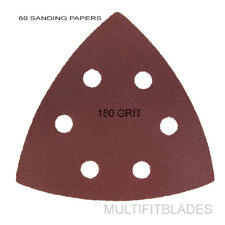 60 Pack: Large Triangular Size 180 Grit Velcro Hook & Loop Sanding Papers
