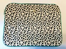 Rebecca Minkoff Laptop Sleeve Pouch Canvas Animal Print & Teal Leather Trim