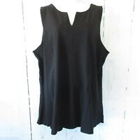 New Kathleen Kirkwood Top 2X Black Split Neck Swing Sleeveless Tank QVC