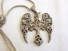 2003 PAUL BORDA Celtic Bird Pentagram Pendant Necklace Sterling Silver 15.4 Grm