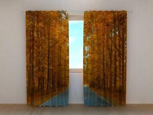 "Fotogardine ""Herbstwald"" Vorhang 3D Fotodruck Fotovorhang Gardine auf Maß"